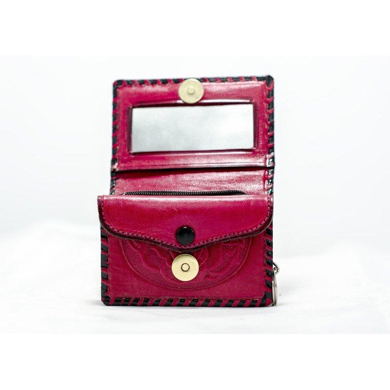 Monedero de piel con espejo - La Guelaguetza Zapatería y articulos de piel